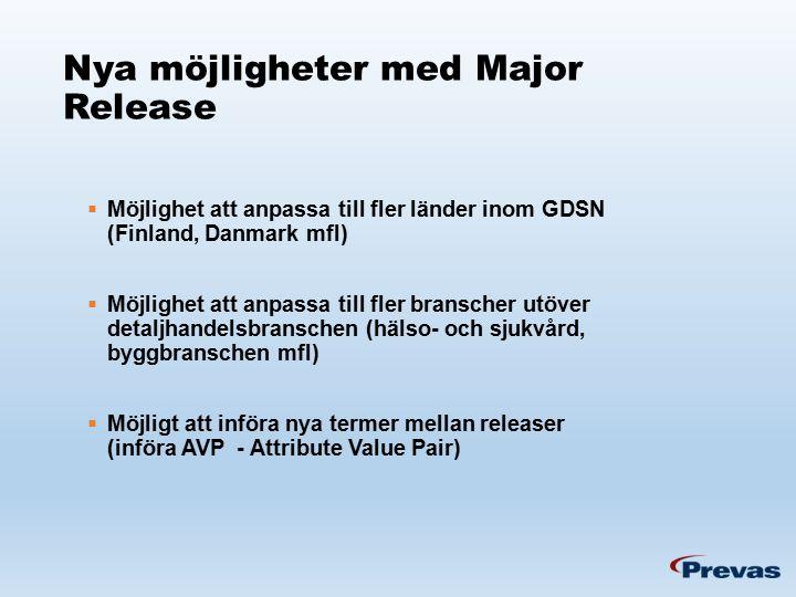 Nya möjligheter med Major Release  Möjlighet att anpassa till fler länder inom GDSN (Finland, Danmark mfl)  Möjlighet att anpassa till fler branscher utöver detaljhandelsbranschen (hälso- och sjukvård, byggbranschen mfl)  Möjligt att införa nya termer mellan releaser (införa AVP - Attribute Value Pair)