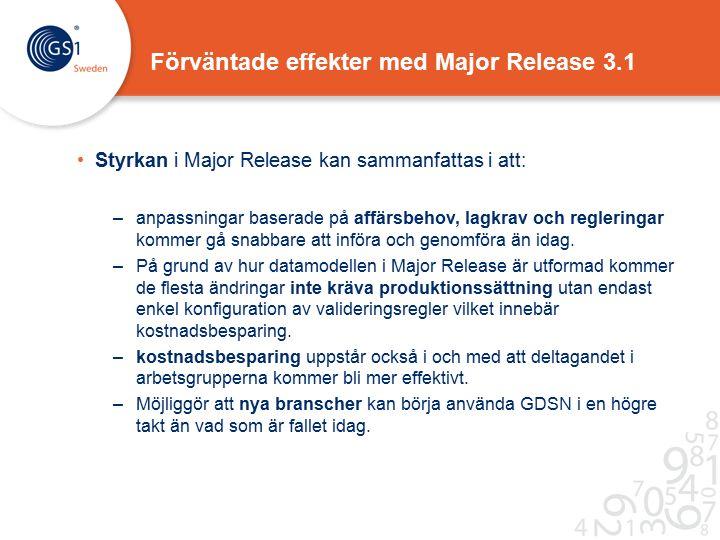 Förväntade effekter med Major Release 3.1 Styrkan i Major Release kan sammanfattas i att: –anpassningar baserade på affärsbehov, lagkrav och regleringar kommer gå snabbare att införa och genomföra än idag.