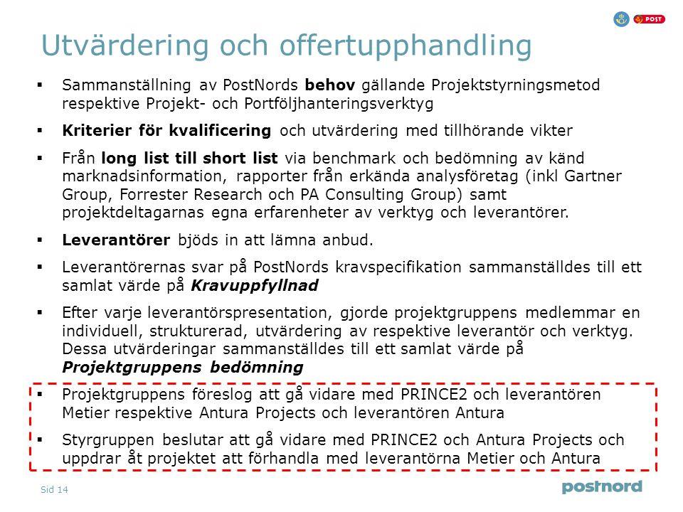 Sid 14 Utvärdering och offertupphandling  Sammanställning av PostNords behov gällande Projektstyrningsmetod respektive Projekt- och Portföljhantering