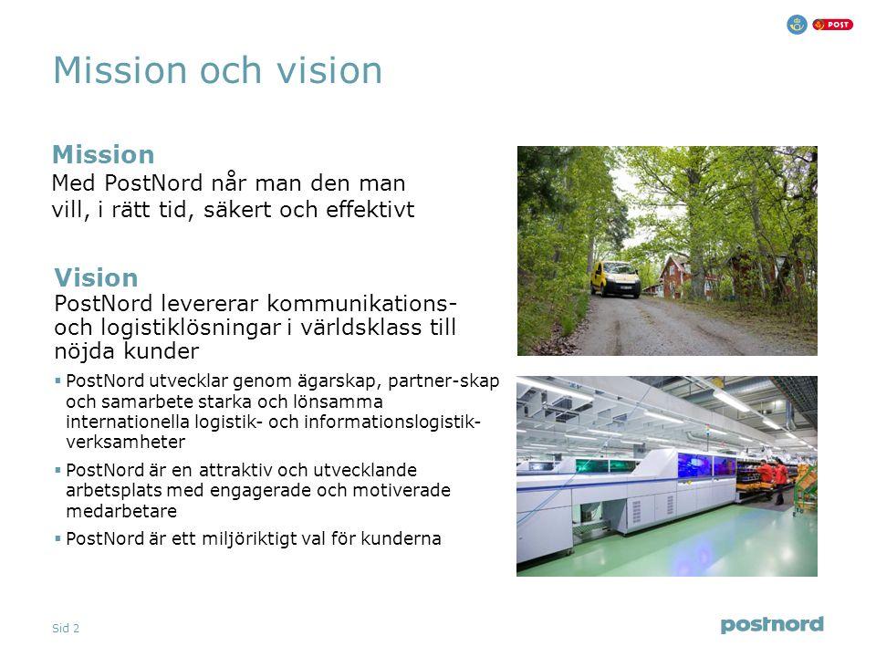 Sid 2 Vision PostNord levererar kommunikations- och logistiklösningar i världsklass till nöjda kunder  PostNord utvecklar genom ägarskap, partner-ska