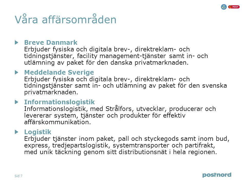 Sid 7 Våra affärsområden Breve Danmark Erbjuder fysiska och digitala brev-, direktreklam- och tidningstjänster, facility management-tjänster samt in- och utlämning av paket för den danska privatmarknaden.