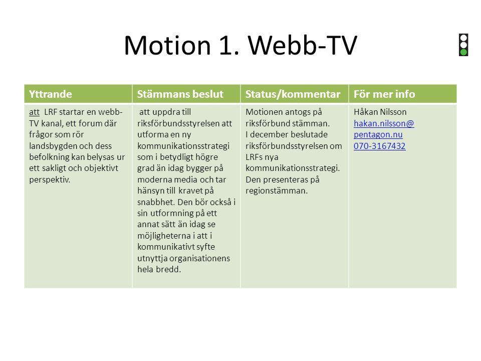 Motion 1. Webb-TV YttrandeStämmans beslutStatus/kommentarFör mer info att LRF startar en webb- TV kanal, ett forum där frågor som rör landsbygden och