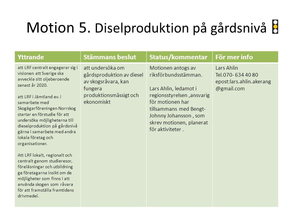 Motion 5. Diselproduktion på gårdsnivå YttrandeStämmans beslutStatus/kommentarFör mer info att LRF centralt engagerar sig i visionen att Sverige ska a