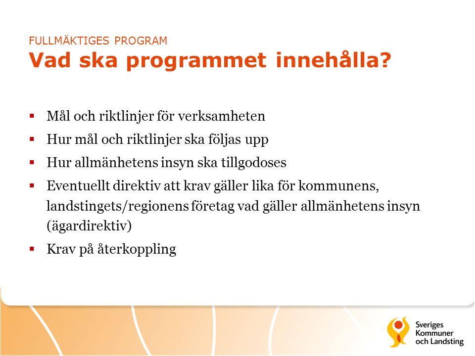 FULLMÄKTIGES PROGRAM Vad ska programmet innehålla.