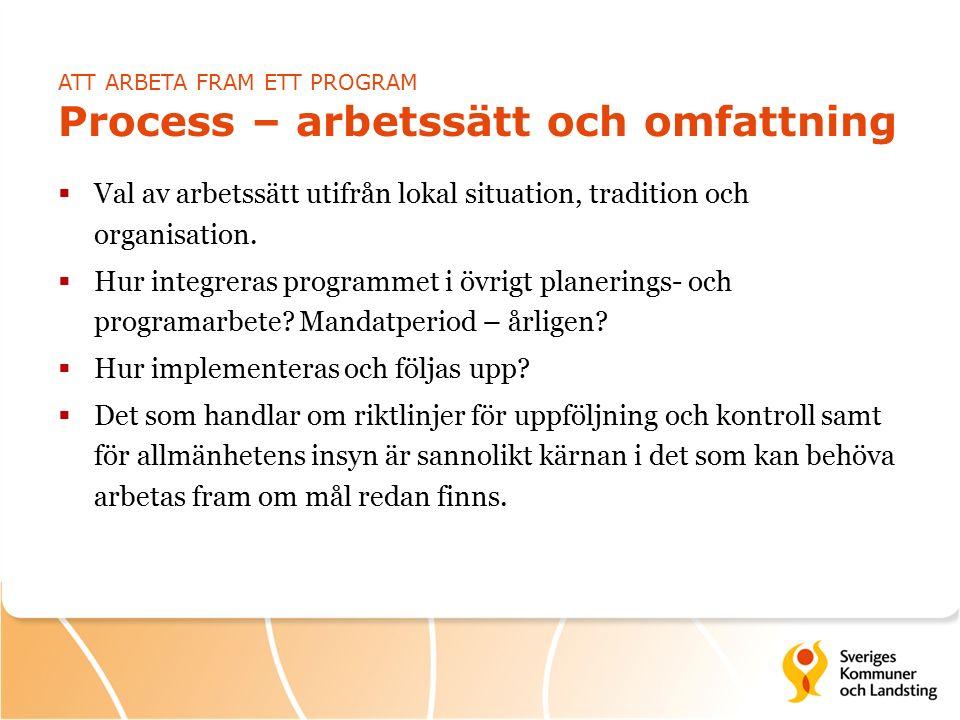 ATT ARBETA FRAM ETT PROGRAM Process – arbetssätt och omfattning  Val av arbetssätt utifrån lokal situation, tradition och organisation.