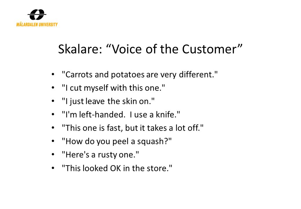 "Skalare: ""Voice of the Customer"""