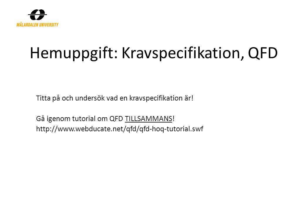 Hemuppgift: Kravspecifikation, QFD Titta på och undersök vad en kravspecifikation är! Gå igenom tutorial om QFD TILLSAMMANS! http://www.webducate.net/