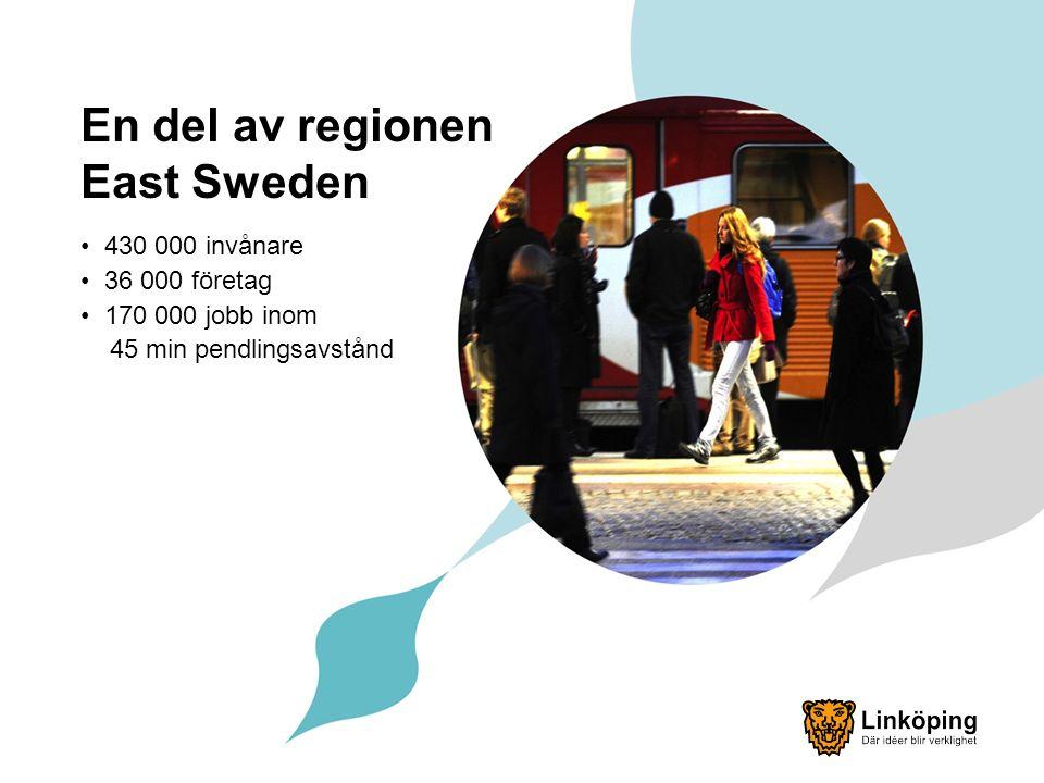 En del av regionen East Sweden 430 000 invånare 36 000 företag 170 000 jobb inom 45 min pendlingsavstånd