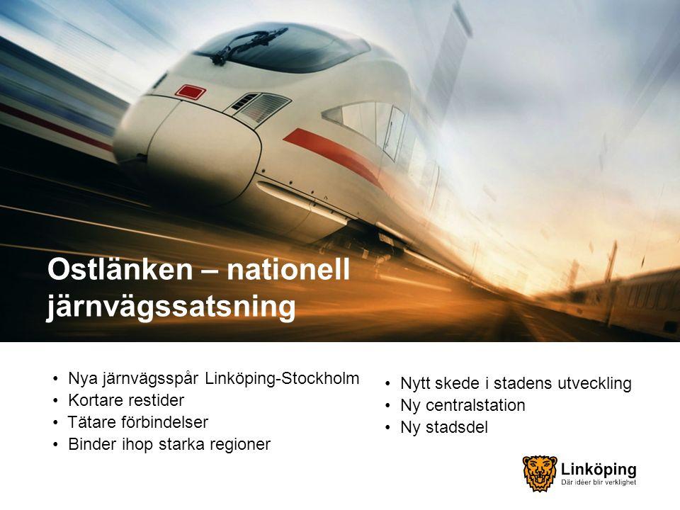 Ostlänken – nationell järnvägssatsning Nya järnvägsspår Linköping-Stockholm Kortare restider Tätare förbindelser Binder ihop starka regioner Nytt skede i stadens utveckling Ny centralstation Ny stadsdel