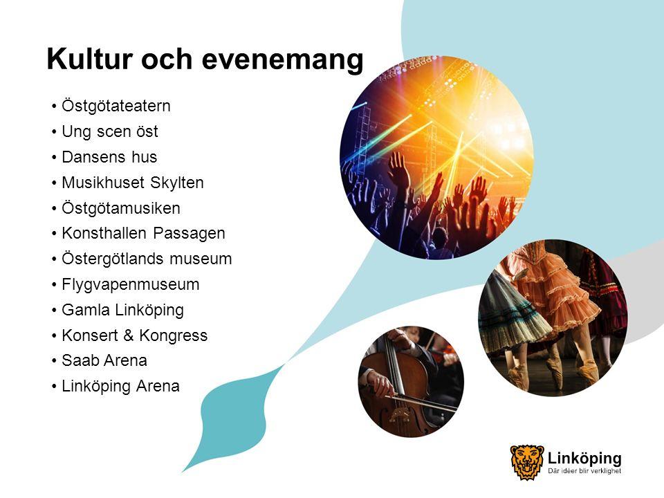 Kultur och evenemang Östgötateatern Ung scen öst Dansens hus Musikhuset Skylten Östgötamusiken Konsthallen Passagen Östergötlands museum Flygvapenmuseum Gamla Linköping Konsert & Kongress Saab Arena Linköping Arena