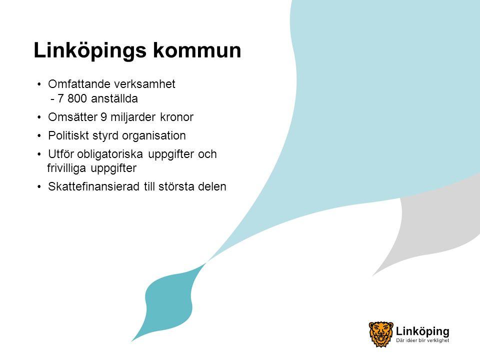 Linköpings kommun Omfattande verksamhet - 7 800 anställda Omsätter 9 miljarder kronor Politiskt styrd organisation Utför obligatoriska uppgifter och frivilliga uppgifter Skattefinansierad till största delen
