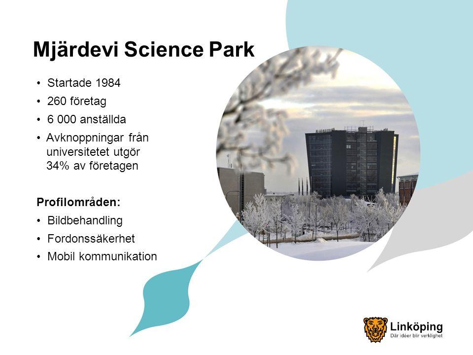 Mjärdevi Science Park Startade 1984 260 företag 6 000 anställda Avknoppningar från universitetet utgör 34% av företagen Profilområden: Bildbehandling Fordonssäkerhet Mobil kommunikation