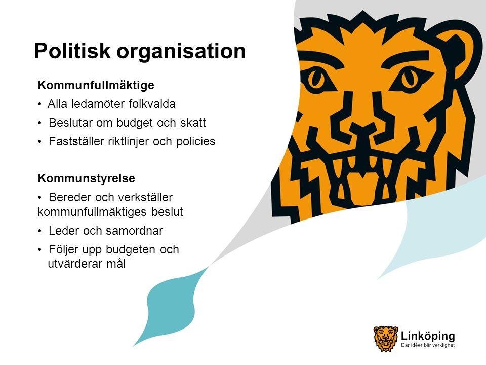 Politisk organisation Kommunfullmäktige Alla ledamöter folkvalda Beslutar om budget och skatt Fastställer riktlinjer och policies Kommunstyrelse Bereder och verkställer kommunfullmäktiges beslut Leder och samordnar Följer upp budgeten och utvärderar mål