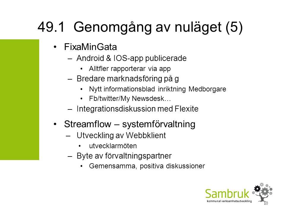 kommunal verksamhetsutveckling FixaMinGata –Android & IOS-app publicerade Alltfler rapporterar via app –Bredare marknadsföring på g Nytt informationsblad inriktning Medborgare Fb/twitter/My Newsdesk… –Integrationsdiskussion med Flexite Streamflow – systemförvaltning –Utveckling av Webbklient utvecklarmöten –Byte av förvaltningspartner Gemensamma, positiva diskussioner 49.1 Genomgång av nuläget (5) 10