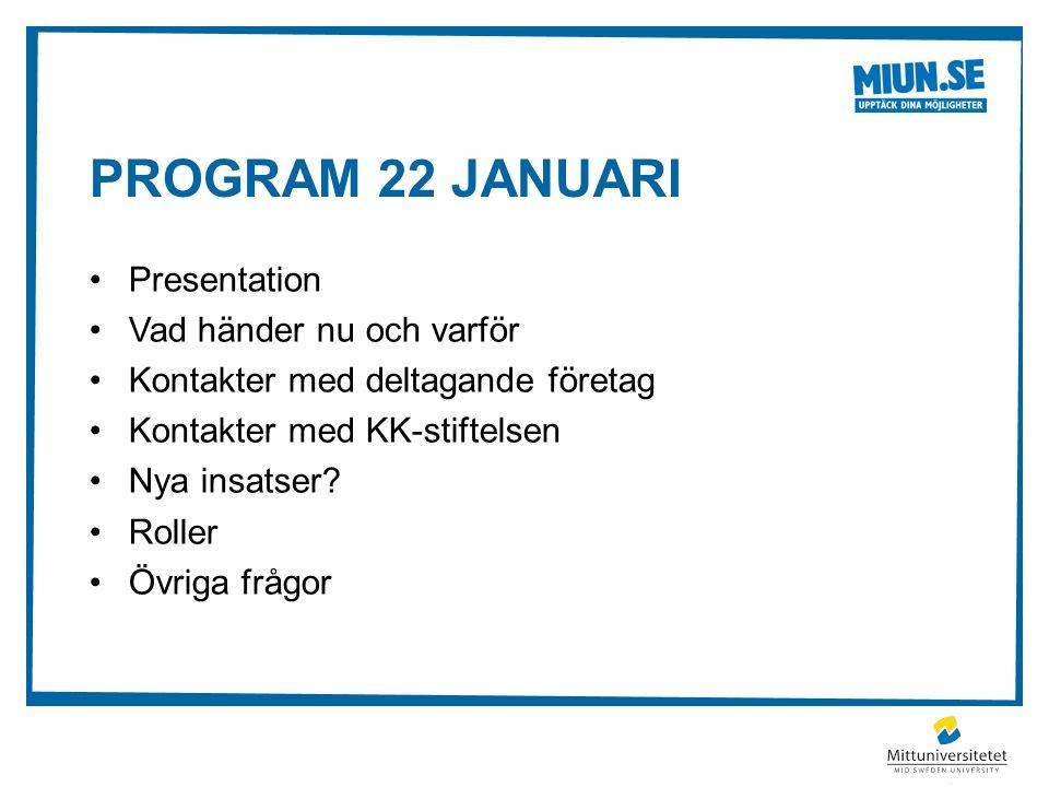 PROGRAM 22 JANUARI Presentation Vad händer nu och varför Kontakter med deltagande företag Kontakter med KK-stiftelsen Nya insatser.
