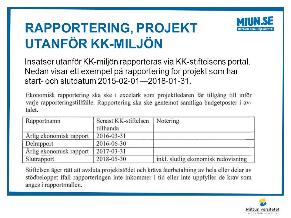 RAPPORTERING, PROJEKT UTANFÖR KK-MILJÖN Insatser utanför KK-miljön rapporteras via KK-stiftelsens portal.