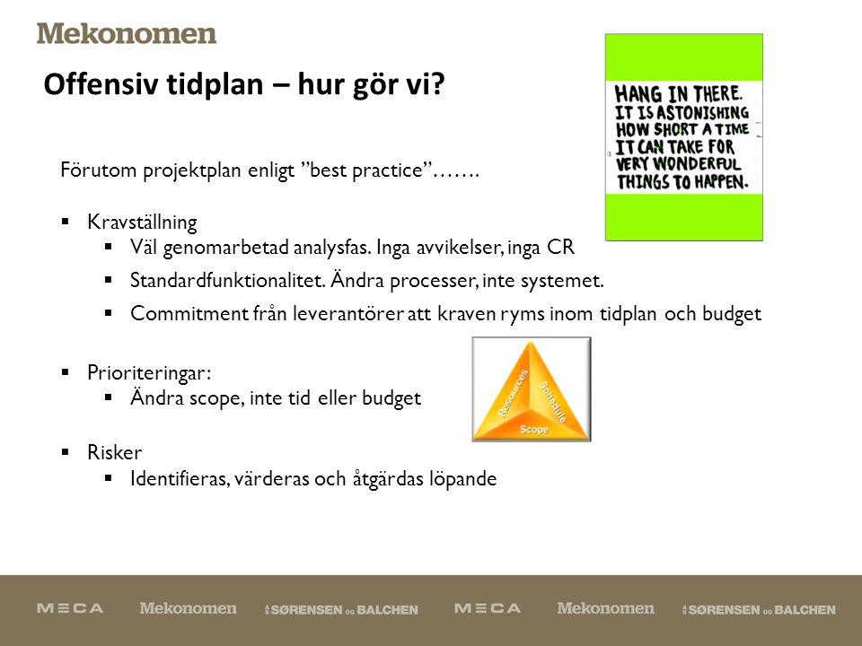 Offensiv tidplan – hur gör vi. Förutom projektplan enligt best practice …….