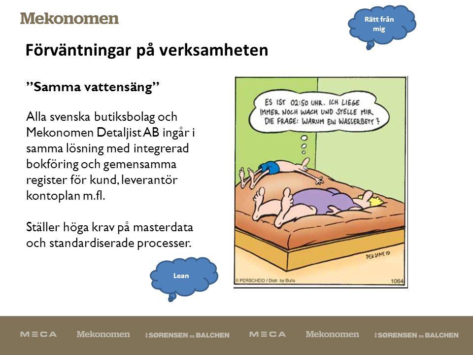 Förväntningar på verksamheten Alla svenska butiksbolag och Mekonomen Detaljist AB ingår i samma lösning med integrerad bokföring och gemensamma register för kund, leverantör kontoplan m.fl.