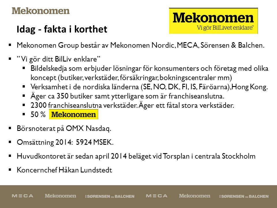  Mekonomen Group består av Mekonomen Nordic, MECA, Sörensen & Balchen.