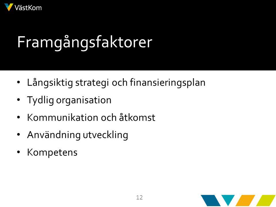 12 Framgångsfaktorer Långsiktig strategi och finansieringsplan Tydlig organisation Kommunikation och åtkomst Användning utveckling Kompetens