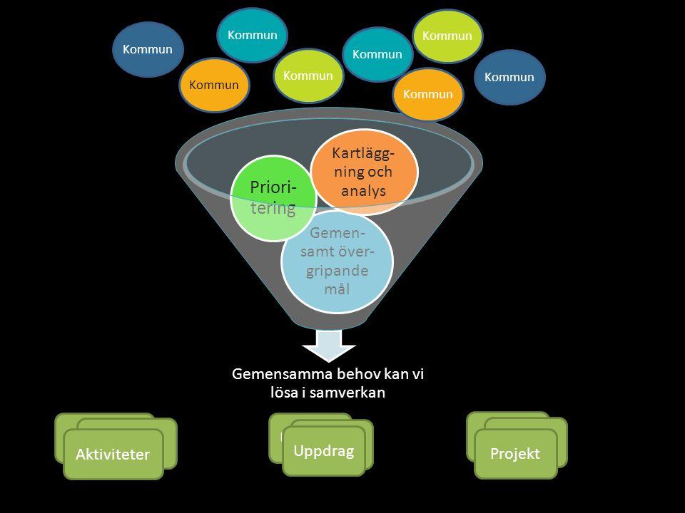 13 Gemensamma behov kan vi lösa i samverkan Gemen- samt över- gripande mål Priori- tering Kartlägg- ning och analys Kommun Projekt AktiviteterUppdrag