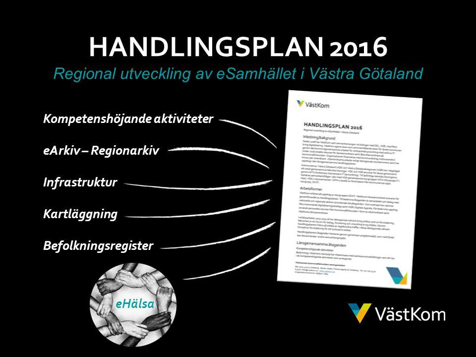 HANDLINGSPLAN 2016 Regional utveckling av eSamhället i Västra Götaland Kompetenshöjande aktiviteter eArkiv – Regionarkiv Infrastruktur Kartläggning Befolkningsregister eHälsa