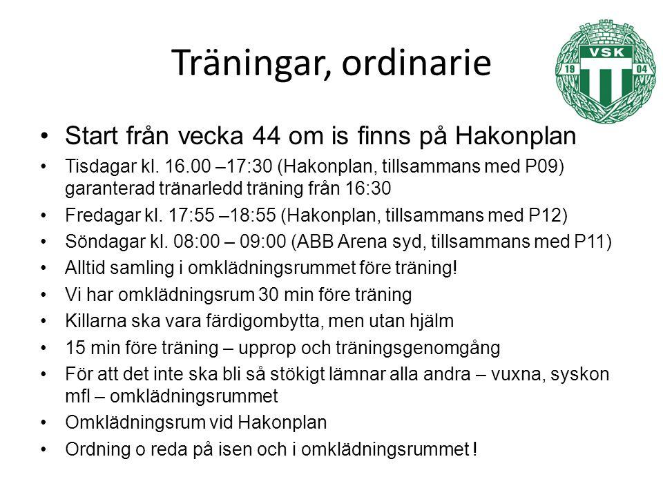 Träningar, ordinarie Start från vecka 44 om is finns på Hakonplan Tisdagar kl.