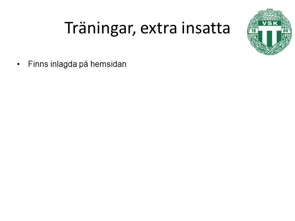 Träningar, extra insatta Finns inlagda på hemsidan