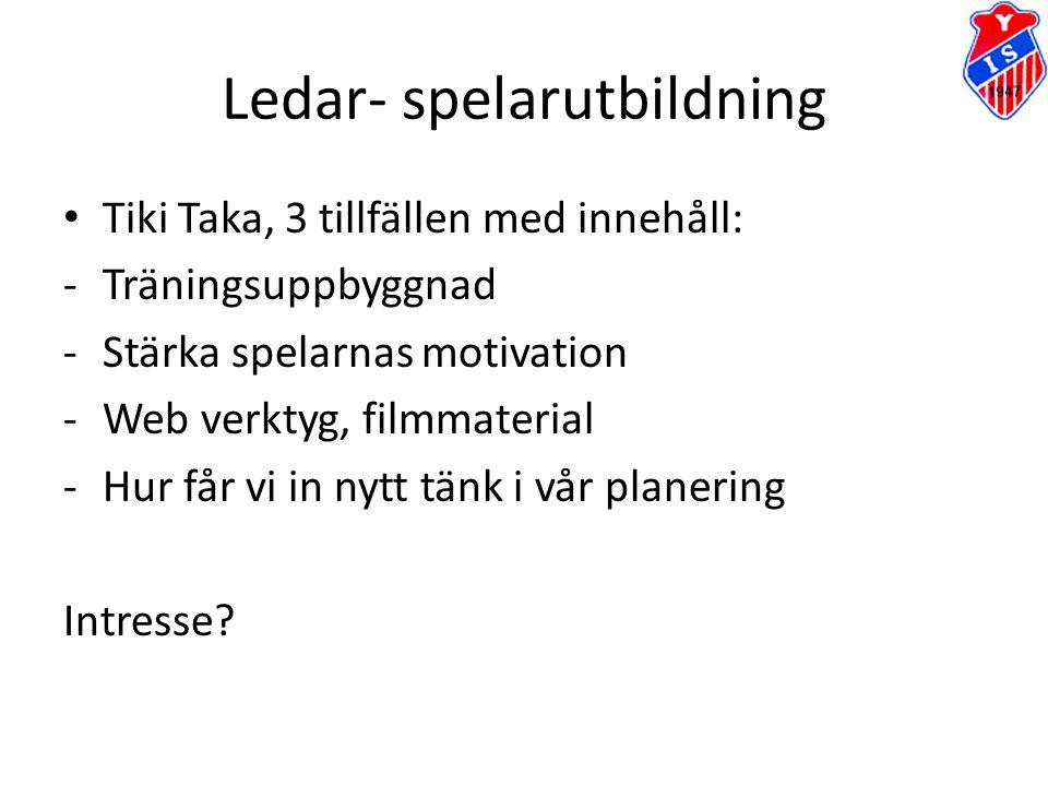 Ledar- spelarutbildning Tiki Taka, 3 tillfällen med innehåll: -Träningsuppbyggnad -Stärka spelarnas motivation -Web verktyg, filmmaterial -Hur får vi
