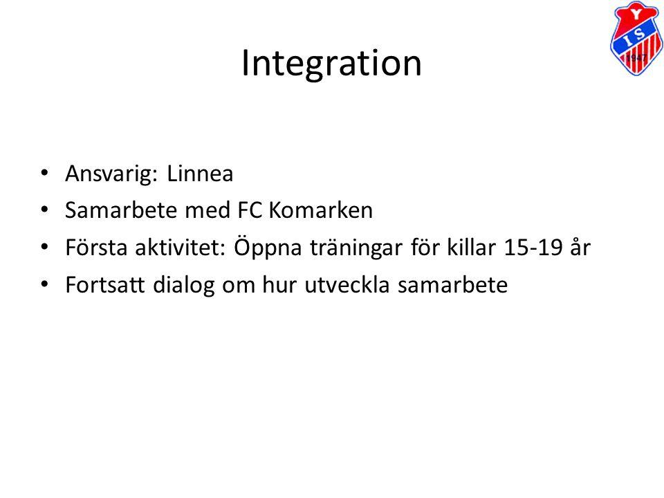 Integration Ansvarig: Linnea Samarbete med FC Komarken Första aktivitet: Öppna träningar för killar 15-19 år Fortsatt dialog om hur utveckla samarbete