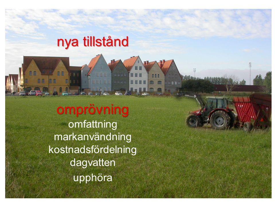 nya tillstånd omprövning omfattning markanvändning kostnadsfördelning dagvatten upphöra