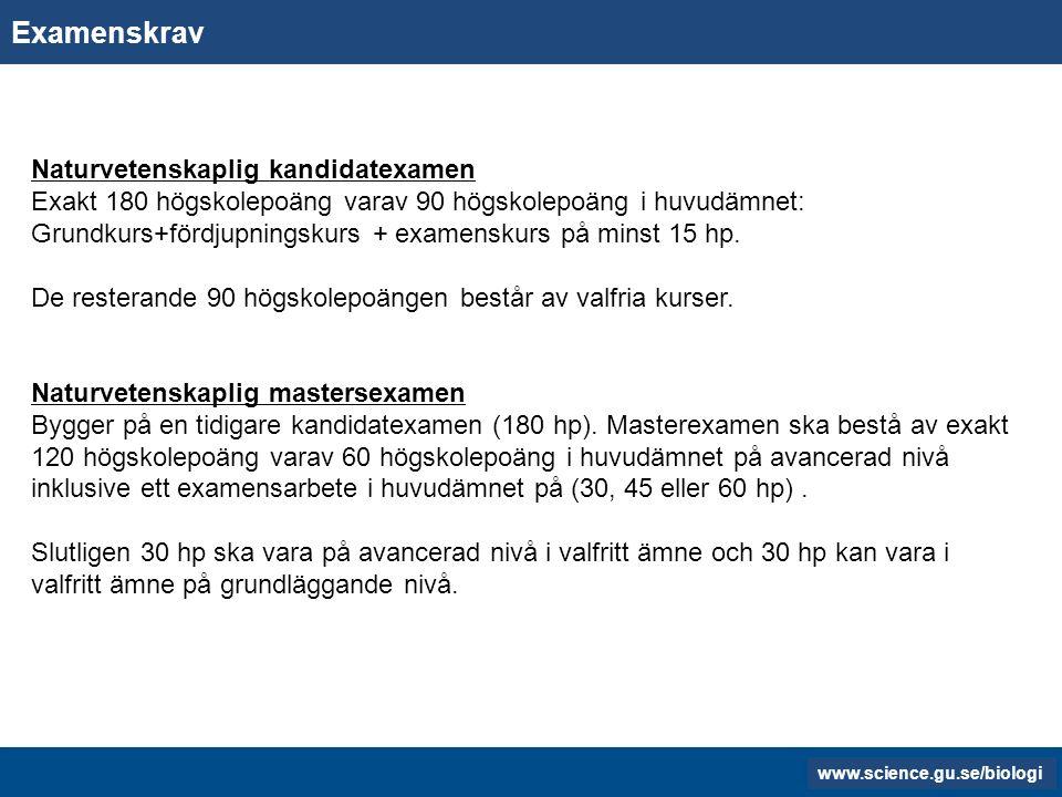www.gu.se www.biology.gu.se Examenskrav Naturvetenskaplig kandidatexamen Exakt 180 högskolepoäng varav 90 högskolepoäng i huvudämnet: Grundkurs+fördjupningskurs + examenskurs på minst 15 hp.