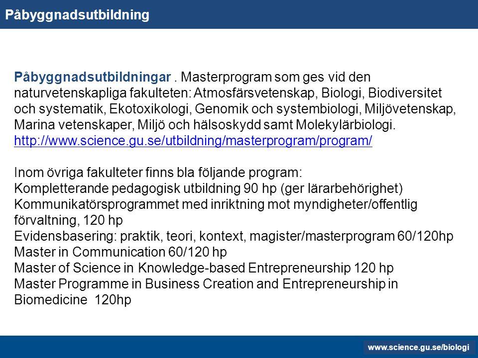 www.gu.se www.biology.gu.se Stipendier Donationsstipendier Donationsstipendier kan sökas om du har läst minst två terminer och klarat minst 60 högskolepoäng vid Göteborgs universitet.