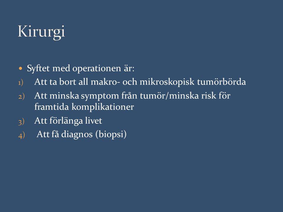 Syftet med operationen är: 1) Att ta bort all makro- och mikroskopisk tumörbörda 2) Att minska symptom från tumör/minska risk för framtida komplikationer 3) Att förlänga livet 4) Att få diagnos (biopsi)