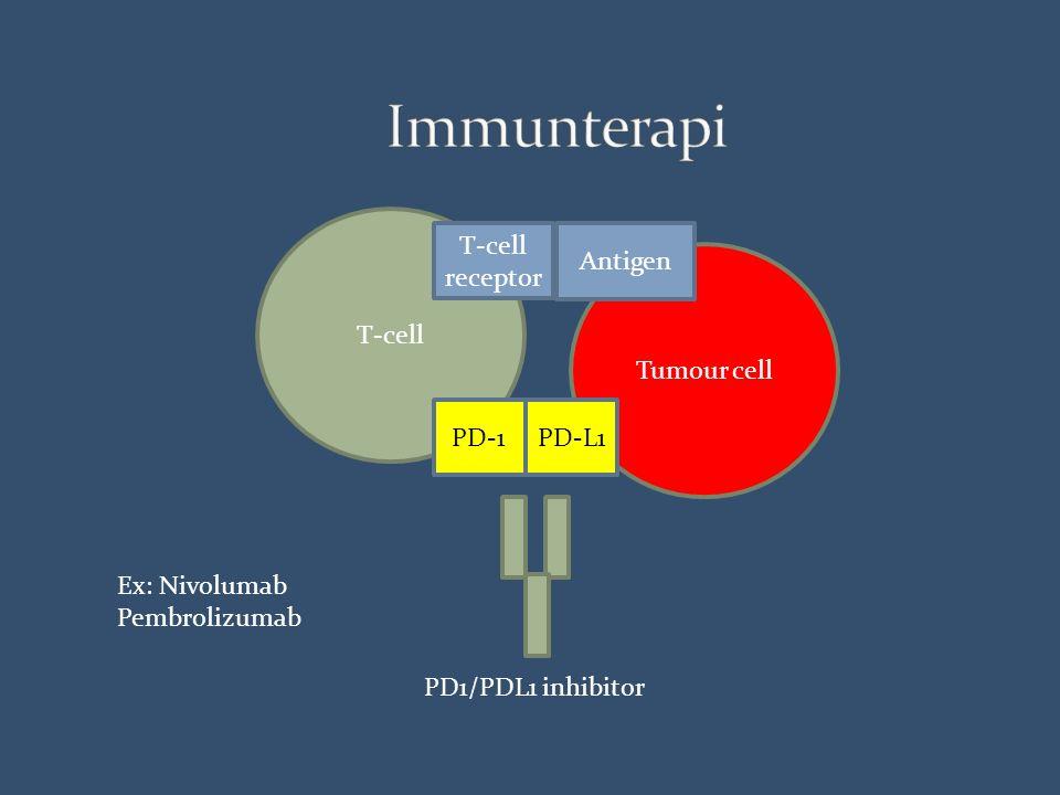 Tumour cell T-cell receptor PD-1 PD-L1 Antigen PD1/PDL1 inhibitor Ex: Nivolumab Pembrolizumab