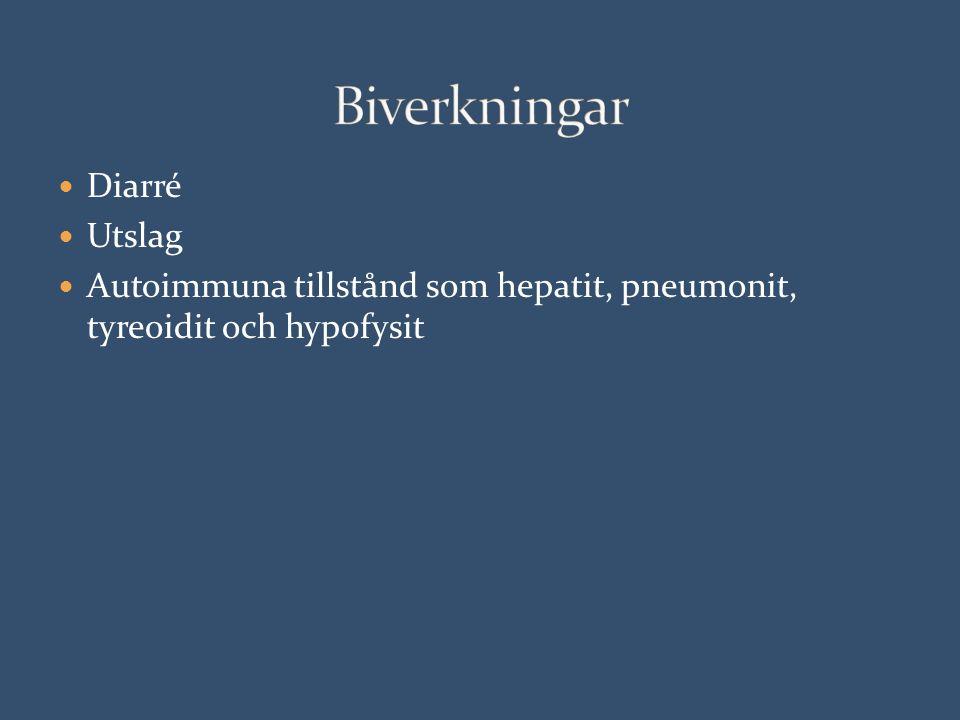 Diarré Utslag Autoimmuna tillstånd som hepatit, pneumonit, tyreoidit och hypofysit
