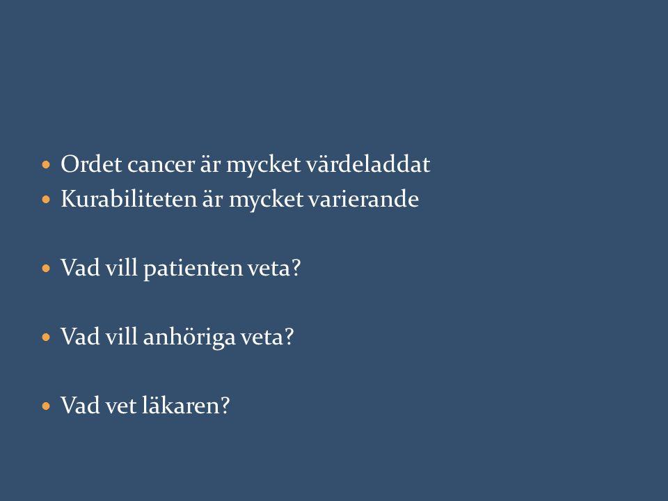 Ordet cancer är mycket värdeladdat Kurabiliteten är mycket varierande Vad vill patienten veta? Vad vill anhöriga veta? Vad vet läkaren?