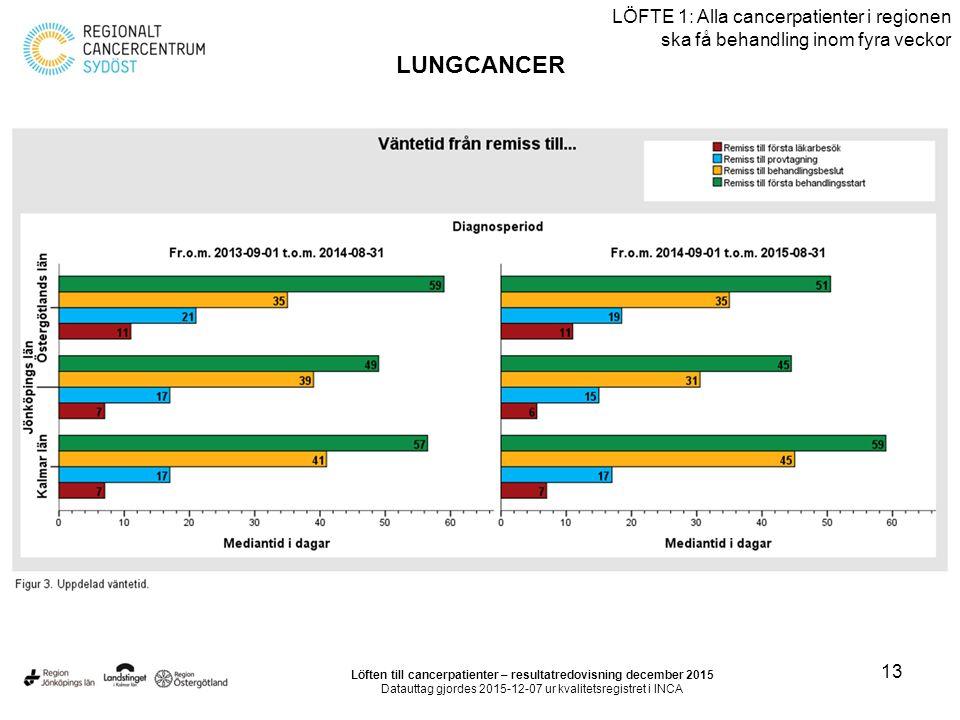 13 LÖFTE 1: Alla cancerpatienter i regionen ska få behandling inom fyra veckor LUNGCANCER Löften till cancerpatienter – resultatredovisning december 2