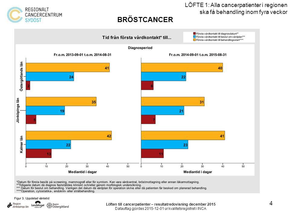 5 LÖFTE 1: Alla cancerpatienter i regionen ska få behandling inom fyra veckor BRÖSTCANCER Löften till cancerpatienter – resultatredovisning december 2015 Datauttag gjordes 2015-12-01 ur kvalitetsregistret i INCA