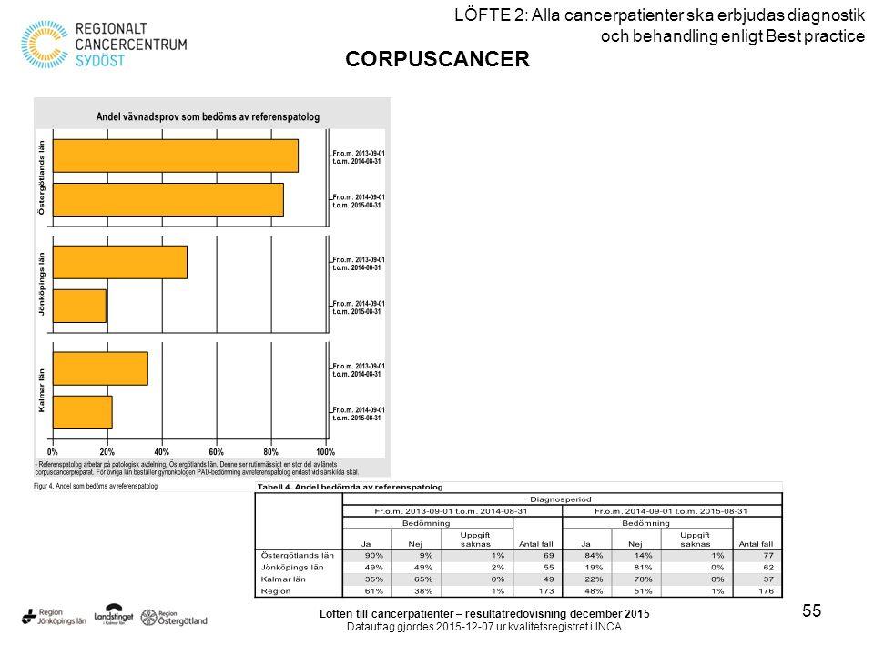 55 LÖFTE 2: Alla cancerpatienter ska erbjudas diagnostik och behandling enligt Best practice CORPUSCANCER Löften till cancerpatienter – resultatredovi