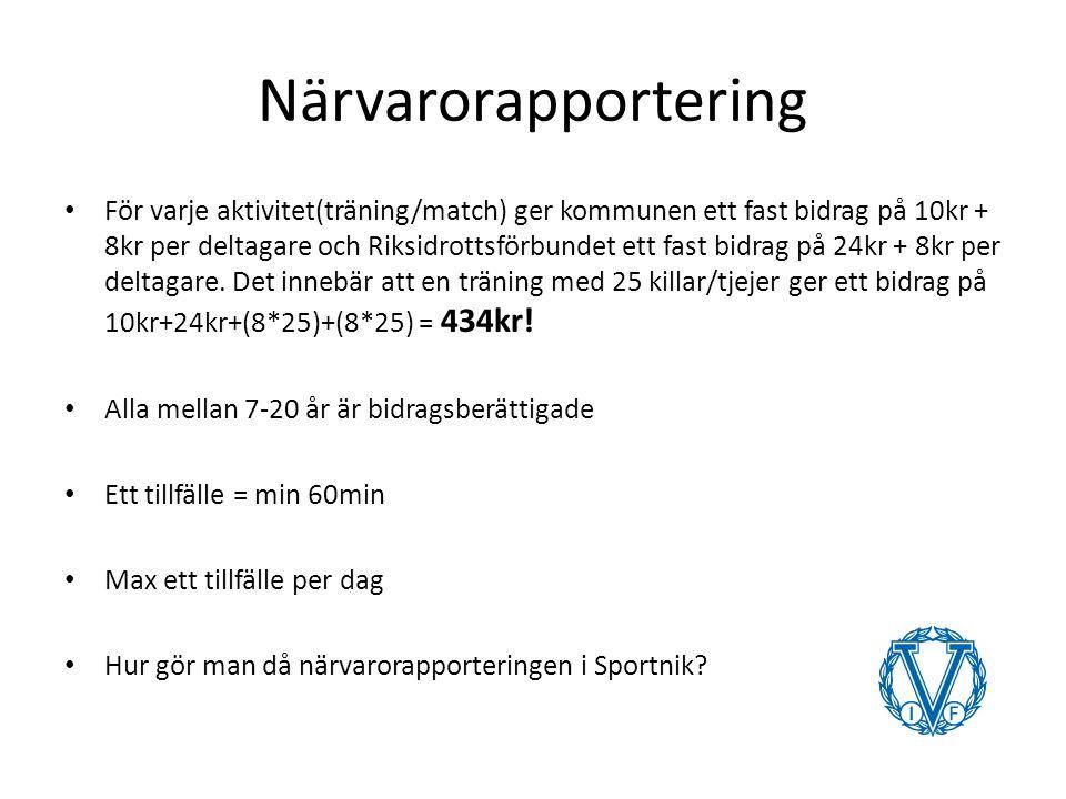 Närvarorapportering För varje aktivitet(träning/match) ger kommunen ett fast bidrag på 10kr + 8kr per deltagare och Riksidrottsförbundet ett fast bidrag på 24kr + 8kr per deltagare.