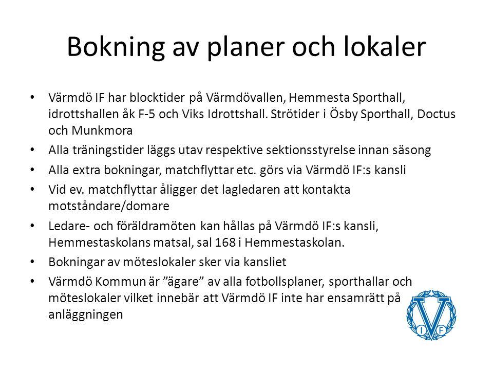 Bokning av planer och lokaler Värmdö IF har blocktider på Värmdövallen, Hemmesta Sporthall, idrottshallen åk F-5 och Viks Idrottshall.