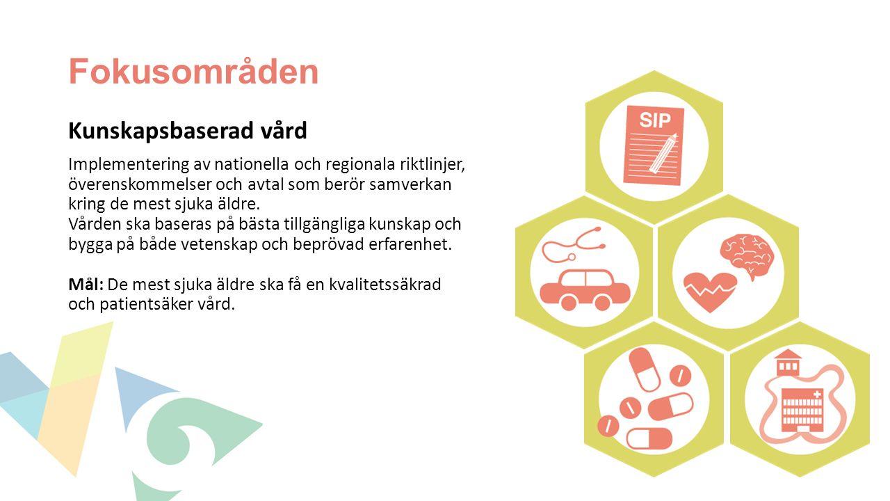 Fokusområden Kunskapsbaserad vård Implementering av nationella och regionala riktlinjer, överenskommelser och avtal som berör samverkan kring de mest sjuka äldre.