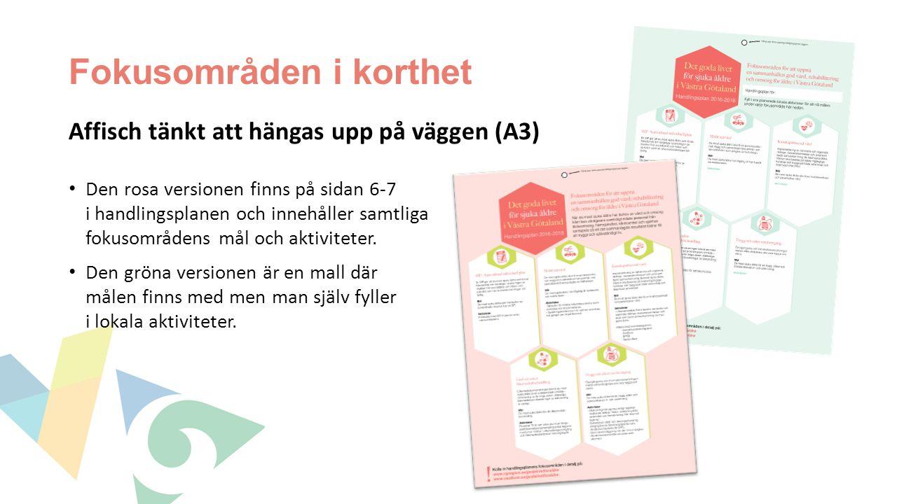 Fokusområden i korthet Affisch tänkt att hängas upp på väggen (A3) Den rosa versionen finns på sidan 6-7 i handlingsplanen och innehåller samtliga fokusområdens mål och aktiviteter.