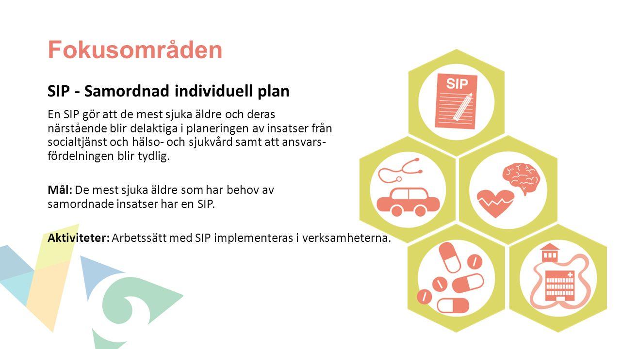 Fokusområden SIP - Samordnad individuell plan En SIP gör att de mest sjuka äldre och deras närstående blir delaktiga i planeringen av insatser från socialtjänst och hälso- och sjukvård samt att ansvars- fördelningen blir tydlig.