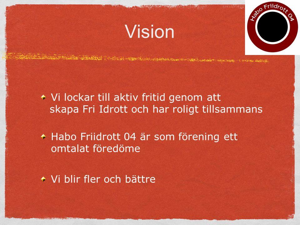 Vision Vi lockar till aktiv fritid genom att skapa Fri Idrott och har roligt tillsammans Habo Friidrott 04 är som förening ett omtalat föredöme Vi blir fler och bättre
