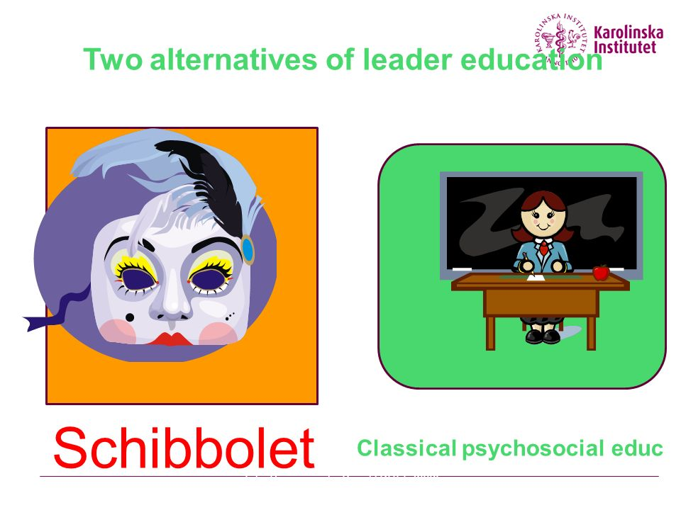 Two alternatives of leader education Schibbolet Classical psychosocial educ Julia Romanowska Projekt KULT 2009 03 30Stressforskningsinstitutet