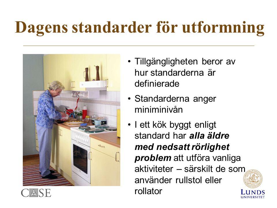 Dagens standarder för utformning Tillgängligheten beror av hur standarderna är definierade Standarderna anger miniminivån I ett kök byggt enligt standard har alla äldre med nedsatt rörlighet problem att utföra vanliga aktiviteter – särskilt de som använder rullstol eller rollator
