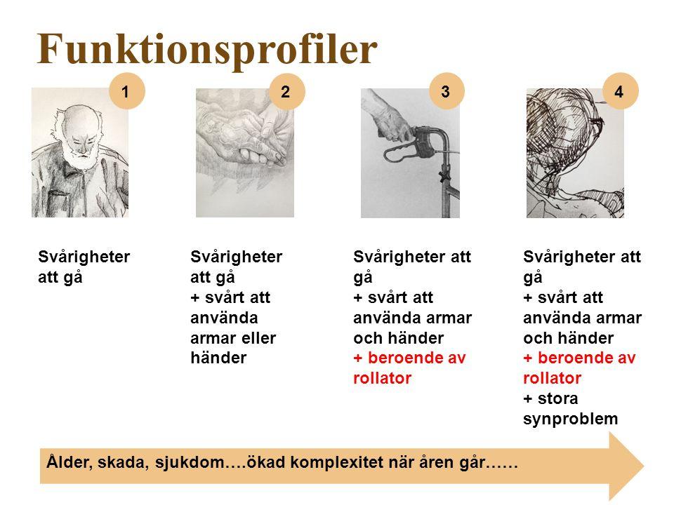 Svårigheter att gå + svårt att använda armar och händer + beroende av rollator Svårigheter att gå + svårt att använda armar eller händer Svårigheter att gå + svårt att använda armar och händer + beroende av rollator + stora synproblem Funktionsprofiler Ålder, skada, sjukdom….ökad komplexitet när åren går…… 1 2 34