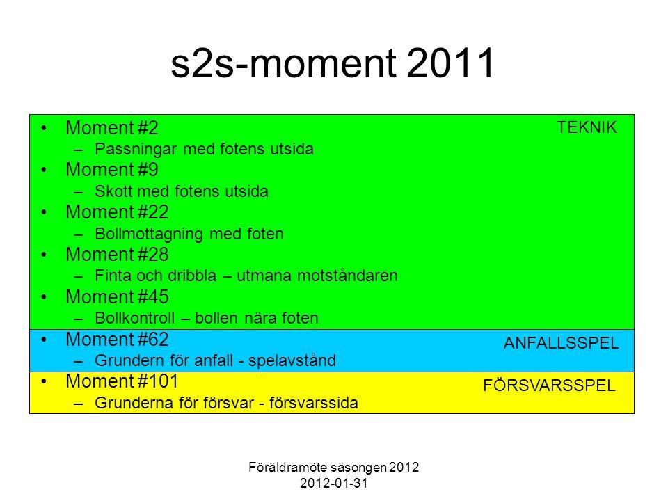 Föräldramöte säsongen 2012 2012-01-31 FÖRSVARSSPEL ANFALLSSPEL TEKNIK s2s-moment 2011 Moment #2 –Passningar med fotens utsida Moment #9 –Skott med fot